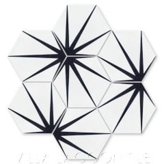 """Alley Black & White Morning"" Geometric Hex Cement Tile, from Villa Lagoon Tile."
