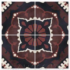 """Amalena Burgundy"" Cuban Cement Tile, by Villa Lagoon Tile."