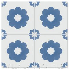 """Ambrose A Blue & White"" Floral Cement Tile, from Villa Lagoon Tile."