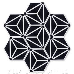 """""""Atlas A Black and White"""" Geometric Hex Cement Tile, from Villa Lagoon Tile."""