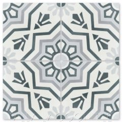 """Aztec Sun A Silver"" Traditional Cement Tile, From Villa Lagoon Tile."