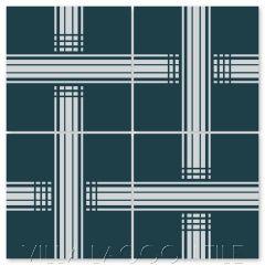 """Barre Aegean Silver"" Modern Geometric Cement Tile by Neyland Design, from Villa Lagoon Tile."