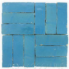 """Sky Blue"" Bejmat Zellige, a Moroccan Mosaic Tile, from Villa Lagoon Tile."