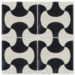 """Bells Black and Seashell White"" Geometric Cement Tile, by Villa Lagoon Tile."