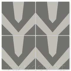 """""""Black Tie Featherstone and Excalibur"""" Modern Geometric Cement Tile by Neyland Design, from Villa Lagoon Tile."""