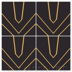 """Black Tie Verge Maple Sugar and Black"" Modern Geometric Cement Tile by Neyland Design, from Villa Lagoon Tile."