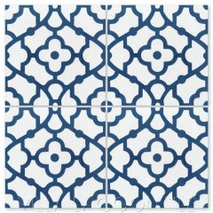 """Breeze Berry Blue & White"" Mediterranean Cement Tile, from Villa Lagoon Tile."