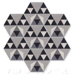 """Byzantine Sencillo"" Geometric Hex Cement Tile, by Villa Lagoon Tile."