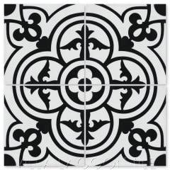 """Caprice Black & White Morning"" Spanish Cement Tile, by Villa Lagoon Tile."