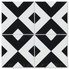 """Charge Black & White"" Geometric Cement Tile, from Villa Lagoon Tile."