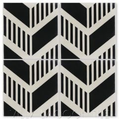 """Chevron Grill Black and Seashell White"" Modern Geometric Cement Tile, by Villa Lagoon Tile."