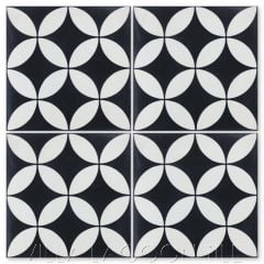 """Circulos B Black & White Evening"" Geometric Cement Tile, from Villa Lagoon Tile."