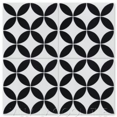 """Circulos B Black & White Morning"" Geometric Cement Tile, from Villa Lagoon Tile."