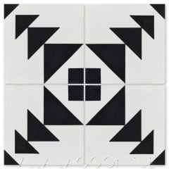 """Code Talker A Black & White"" Modern Geometric Cement Tile, by Villa Lagoon Tile."
