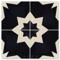 """Comino B Black & Alabaster"" Moroccan Cement Tile, from Villa Lagoon Tile."