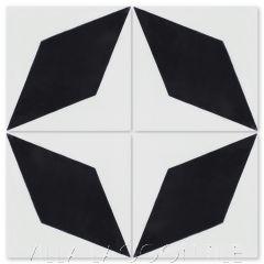 """Compass Point Black & White"" Geometric Cement Tile, from Villa Lagoon Tile."