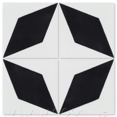 """Compass Point Black & White"" Geometric Cement Tile, from Villa Lagoon Tile."