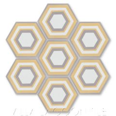 """""""Concentric Hex L"""" Ringed Cement Tile, by Villa Lagoon Tile."""