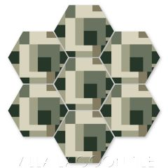"""Cornerstone Smoke on the Ponderosa"" Geometric Hex Cement Tile by Neyland Design, from Villa Lagoon Tile."