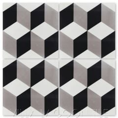 """Cubes A Sencillo"" Geometric Cement Tile, from Villa Lagoon Tile."