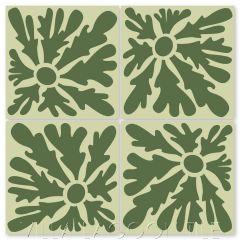 """Dandelion Rainforest & Lichen"" Whimsical Floral Cement Tile by Jeff Shelton, from Villa Lagoon Tile."