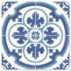 """Danielle Admiral"" Traditional Floral Cement Tile, from Villa Lagoon Tile."