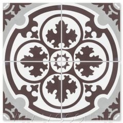 """Danielle Espresso"" Traditional Floral Cement Tile, from Villa Lagoon Tile."