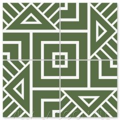 """""""Decorama Rainforest and White"""" Modern Geometric Cement Tile by Neyland Design, from Villa Lagoon Tile."""