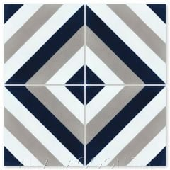 """Diagonal Eight Navy"" Striped Cement Tile, from Villa Lagoon Tile."