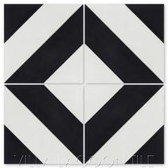 """Diagonal Four A Black & White"" Striped Cement Tile, from Villa Lagoon Tile."