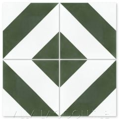 """Diagonal Four A Olive & White"" Striped Cement Tile, from Villa Lagoon Tile."