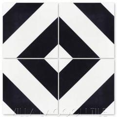 """Diagonal Four B Black & White"" Striped Cement Tile, from Villa Lagoon Tile."