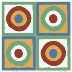 """East Beach Circle in Primary Colors"" Modern Whimsical Cement Tile by Jeff Shelton, from Villa Lagoon Tile."