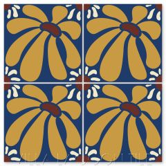 """""""Echinacea on Admiral"""" Whimsical Floral Cement Tile by Jeff Shelton, from Villa Lagoon Tile."""