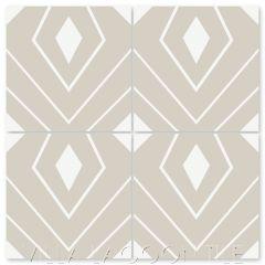 """Eighth Avenue White on Smoke"" Modern Geometric Cement Tile by Neyland Design, from Villa Lagoon Tile."