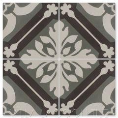 """Elizabeth Heron"" Traditional Floral Cement Tile, by Villa Lagoon Tile."