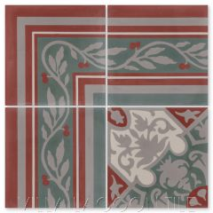"""Emilio Border"" Cuban Cement Tile Border with matching ""Rumba Autentico"", from Villa Lagoon Tile."