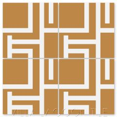 """""""Field Day Mustard and White"""" Modern Geometric Cement Tile by Neyland Design, from Villa Lagoon Tile."""