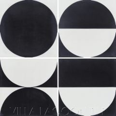 """Full Moon Rising Black and White"" Geometric Cement Tile, by Villa Lagoon Tile."