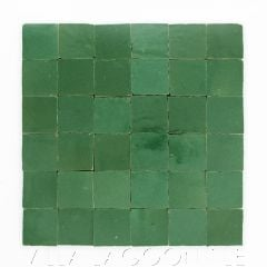 """""""Evergreen"""" Small Square Glazed Zellige on a 12"""" Mat, a Moroccan Mosaic Tile, from Villa Lagoon Tile."""