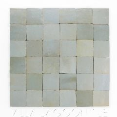 """""""Iceberg"""" Small Square Glazed Zellige on a 12"""" Mat, a Moroccan Mosaic Tile, from Villa Lagoon Tile."""