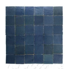 """""""Mariana Blue"""" Small Square Glazed Zellige on a 12"""" Mat, a Moroccan Mosaic Tile, from Villa Lagoon Tile."""