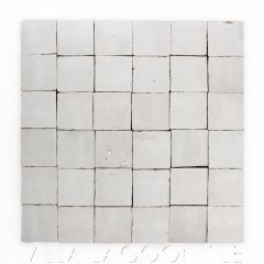 """""""Meringue"""" Small Square Glazed Zellige on a 12"""" Mat, a Moroccan Mosaic Tile, from Villa Lagoon Tile."""
