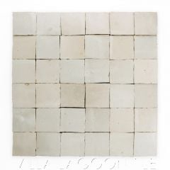 """""""Oyster Shell"""" Small Square Glazed Zellige on a 12"""" Mat, a Moroccan Mosaic Tile, from Villa Lagoon Tile."""