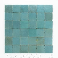 """""""Waterfall"""" Small Square Glazed Zellige on a 12"""" Mat, a Moroccan Mosaic Tile, from Villa Lagoon Tile."""