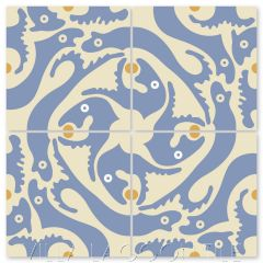 """Grunion Periwinkle"" Whimsical Wildlife Cement Tile by Jeff Shelton, from Villa Lagoon Tile."