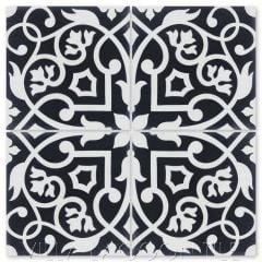 """Gypsy Black & White"" Floral Cement Tile, from Villa Lagoon Tile."