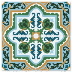 """Habanero Jardin"" Cuban Floral Cement Tile, from Villa Lagoon Tile."