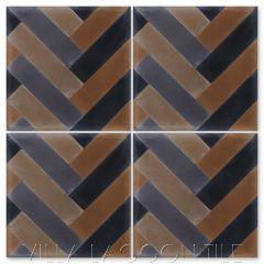 """Herringbone Primero"" Geometric Cement Tile, by Villa Lagoon Tile."