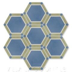 """""""Hex Deco Washed Denim"""" Art Deco Cement Tile, by Villa Lagoon Tile."""